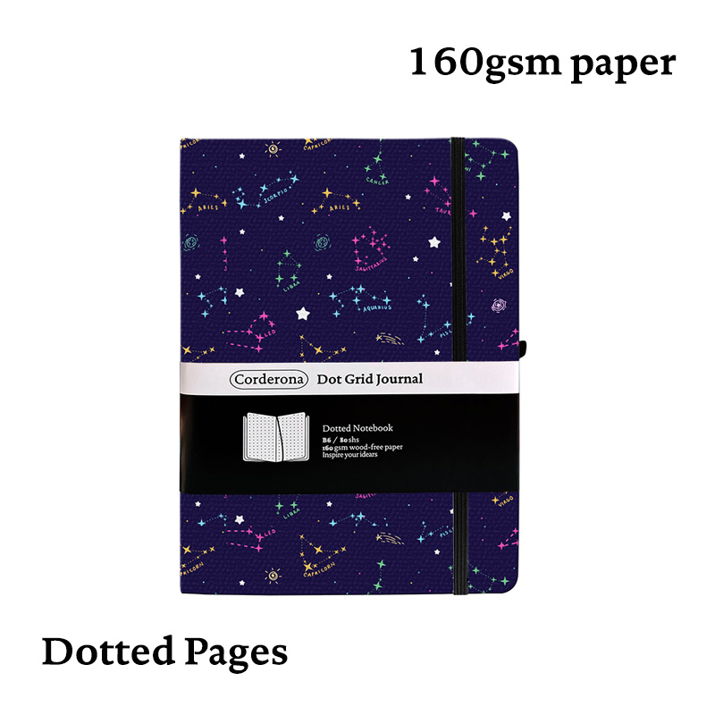 B6 Bullet Journal Dot Grid Bujo 160gsm Hard Cover Thick Paper Dotted Notebook Colorful Zodiac Stars Travel Planner Diary