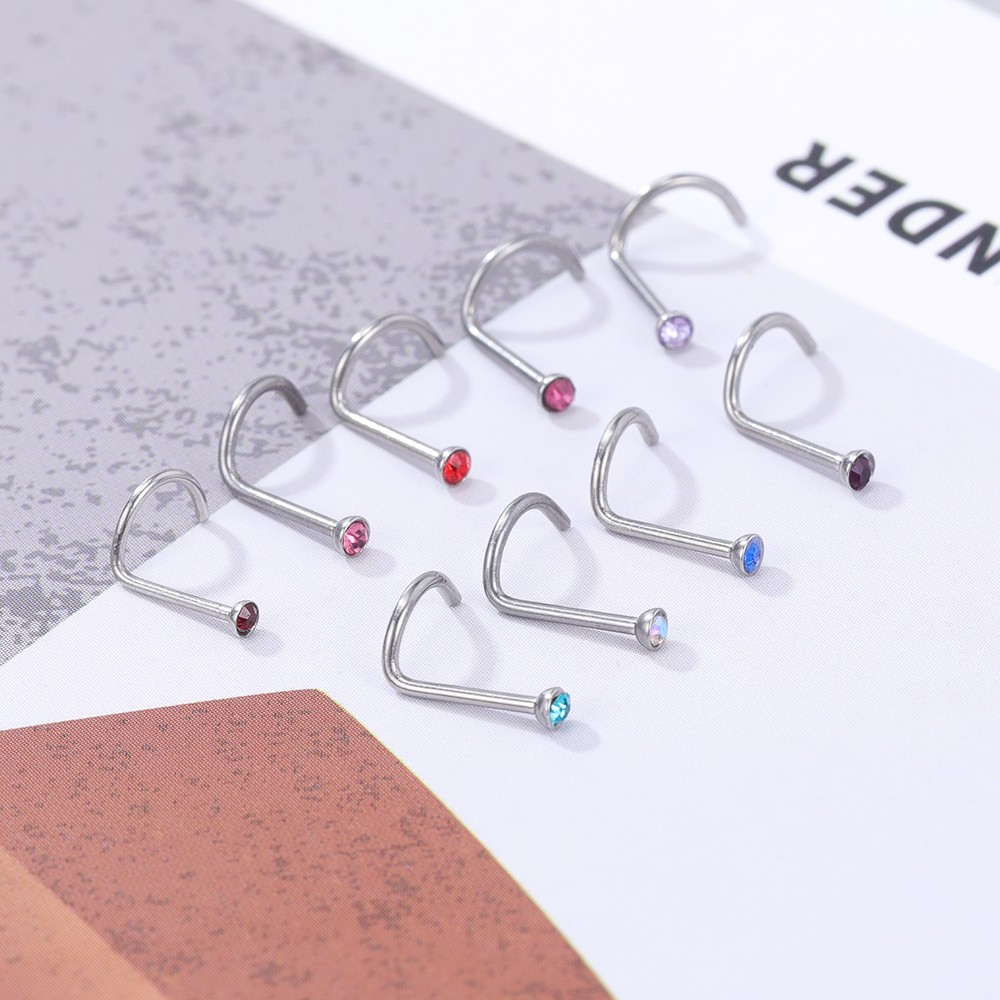 1 Pcs Crystal Bend Nose Studs For Women 9 Color Cz Stainless Steel