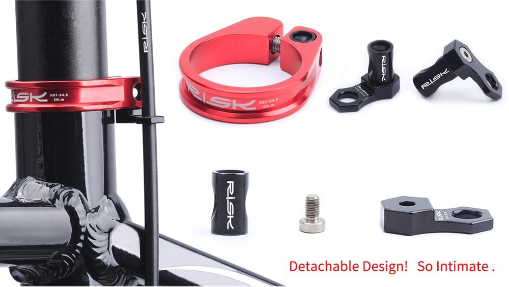 Risk Aluminum MTB Bike Seat Post Clamp Ultralight 31.8//34.9mm W// Cable Organizer