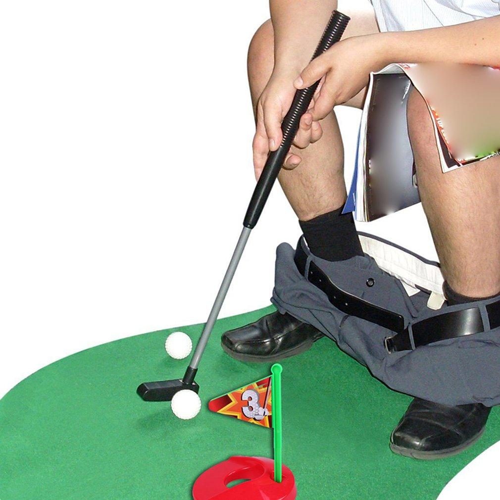 Funny Toilet Golf Funny Potty Putter Set Wc Golf Toy Golfing Game Indoor Practice Perfect Mini Golf Novelty Gag Gift Set