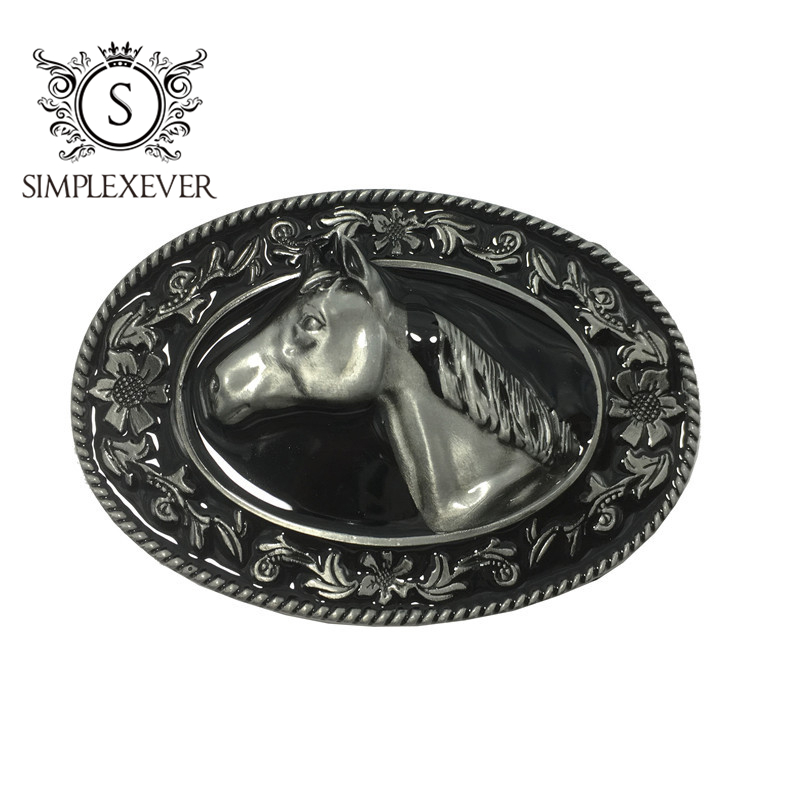 Floral Lace Men's Belt Buckles With Horse Design, Silver Metal Belt Buckle Head Suit For 4cm Width Belt