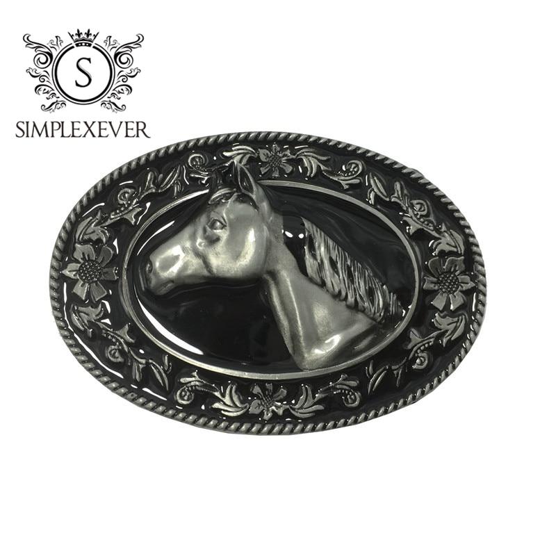 Floral Lace Men's Belt Buckles With Horse Design, Silver Metal Belt Buckle Head Suit For 4cm Width Belt