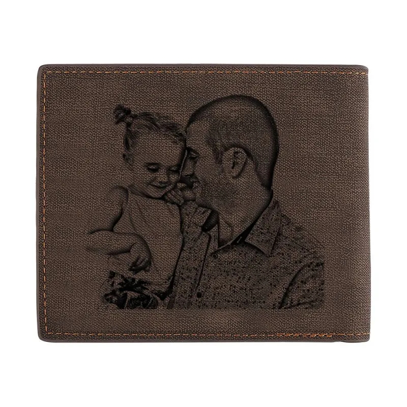 New Wallets Carving Custom Photo Engraved Wallet Short Style Bifold Large capacity Multi functional Business Wallet Purse in Wallets from Luggage Bags