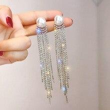 2020 Korean Shiny Crystal Long Tassel Earrings for Women Elegant Bling Pearl Drop Dangle Party Wedding Jewelry