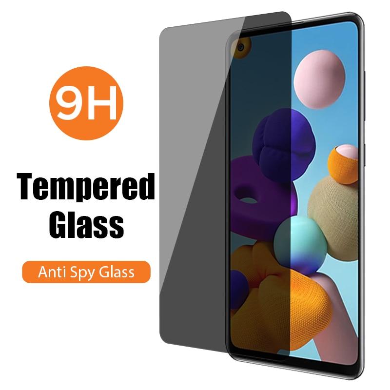 Антишпионское закаленное стекло для Samsung A51 A71 A50 5G тонированное Защитное стекло для Galaxy A21S A21 A12 A11 A01 A02S A20e A20 A10e A10