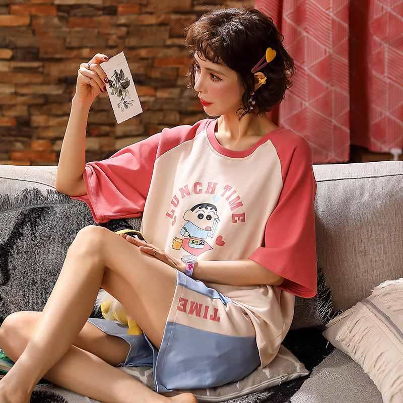 Crayon Shin-chan Red With The Same Korean Pajamas Women Summer Thin Section Cotton Short-sleeved Cute Cartoon Home Service
