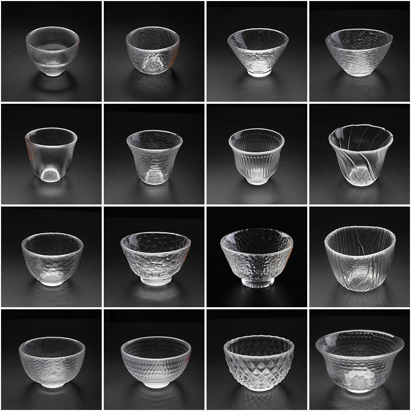 Glass Bottle Hammer Teacup Tea Cup Tea Bowl Master Cup Transparent Hammer Mesh Pattern Ice Pattern Kung Fu Tea Set Thick