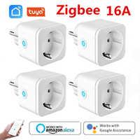ZigBee-enchufe inteligente con Monitor de potencia enchufe con Control remoto, salida inalámbrica, para asistente de Google Home, Tuya, EU 16A