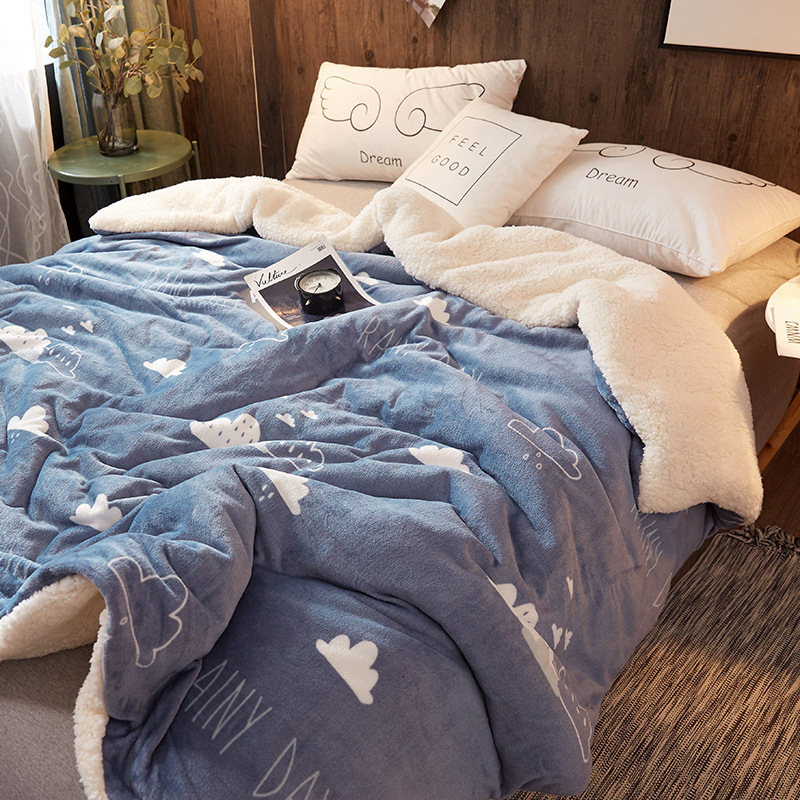 Newest 2 In 1 Throw Blanket Flannel & Lamb Cashmere Winter Thick Bedding Duvet Cover Summer Blanket Plaid Soft Smooth Classic