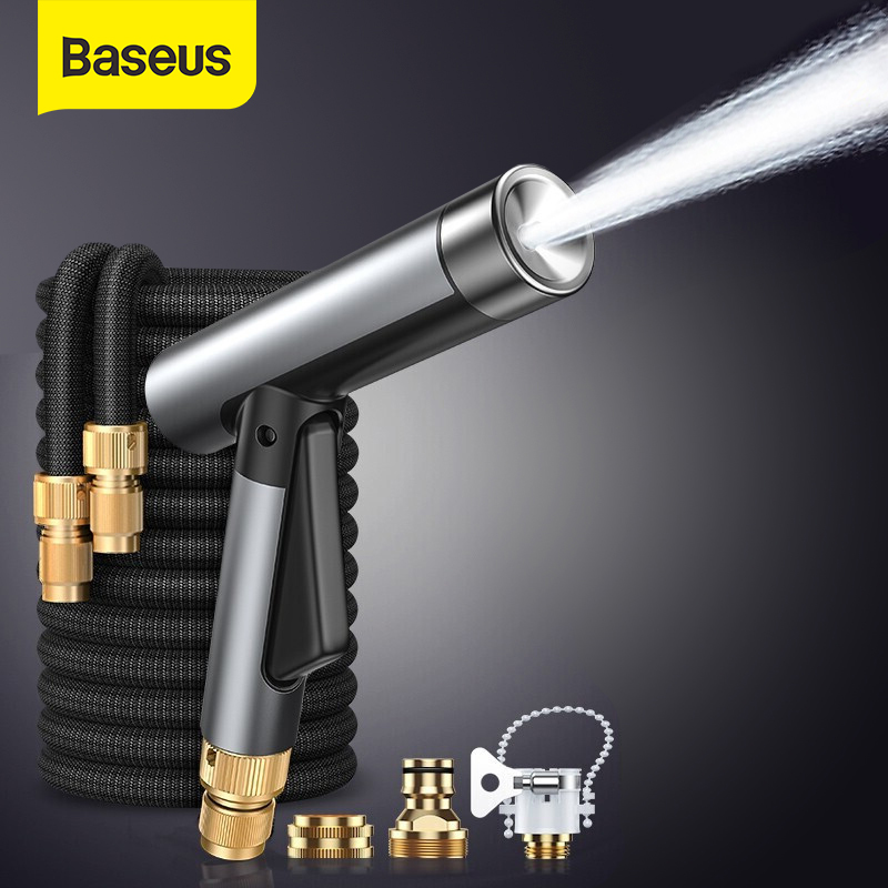 Baseus Car Washer Gun Alloy High Pressure Water Gun Car Washer Garden Hose Magic Flexible Hose Cleaning Car Washing Tools