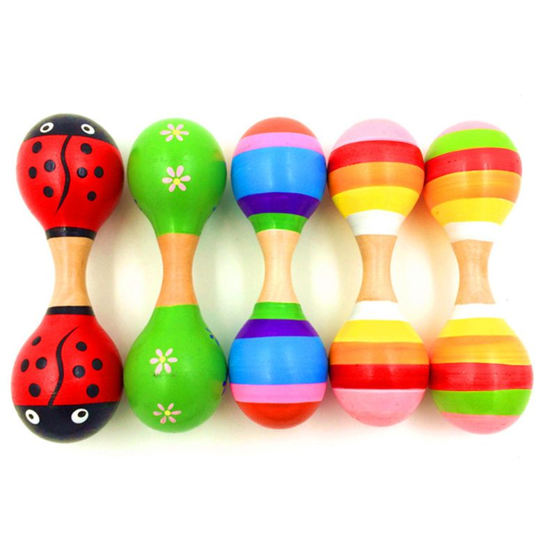 Double Head Colorful Wooden Maracas Baby Child Musical Instrument Rattle Shaker For Party Toy 19QF