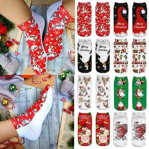 Christmas Socks 1pair Santa Snowman Printed Cotton Warm Socks Christmas Decor for Home Kids xmas party Socks New year 2021 gift