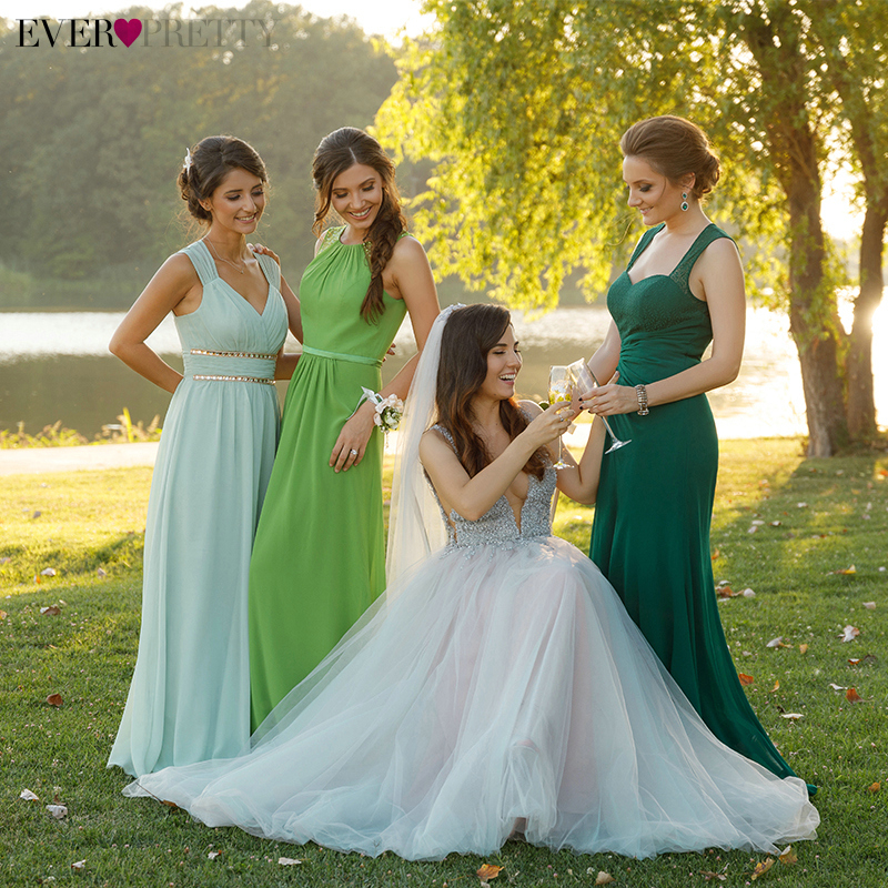 Elegant   Bridesmaid     Dresses   Ever Pretty A-Line O-Neck Sleeveless Beaded Tulle Cheap Wedding Guest   Dresses   Vestidos Fiesta Boda