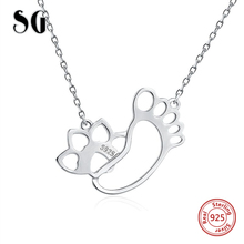 SG Hot sale lovely dog footprint chain pendant necklace 925 sterling silver fashion jewelry making for women gifts