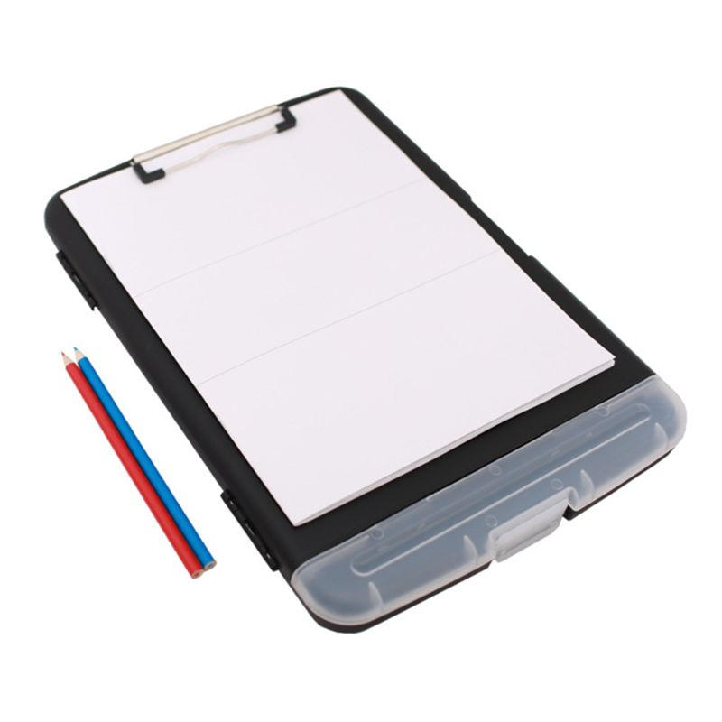 OOTDTY Classic Multifunctional File Folder Organizer Plastic Clipboard Box Case Pen Holder Stationery Office Supplies