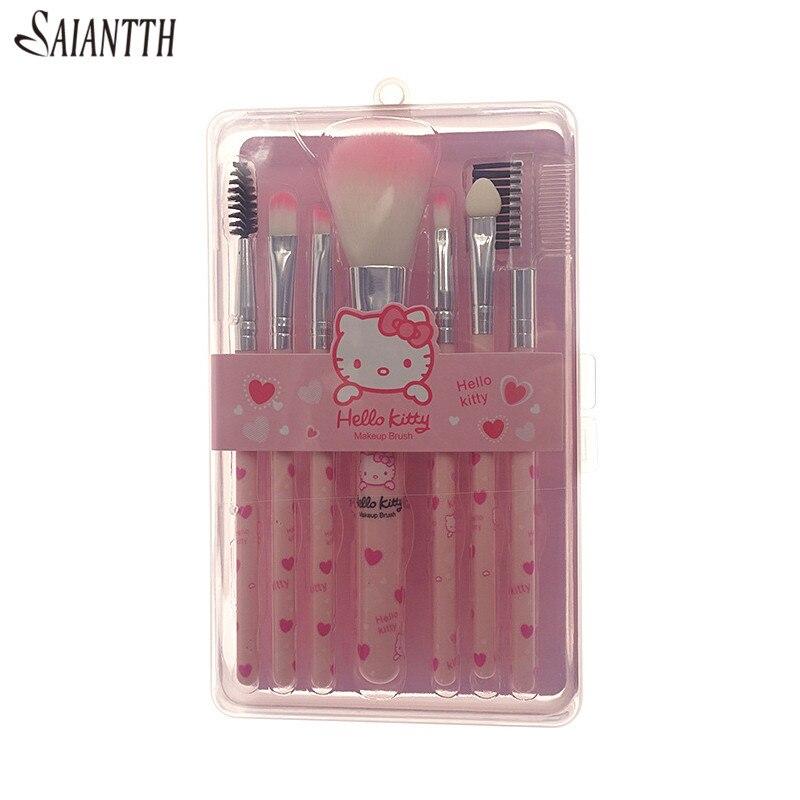 7pcs hello Pink makeup brushes set portable blush loose powder Trimming brush fix make up dense soft hair pincel maquiagem tool