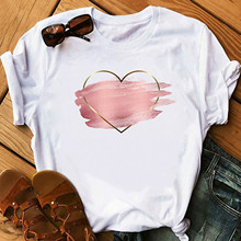 Short-Sleeve Blouses Shirt O-Neck Office Valentine's-Day-Print Pink White Women's Ladies