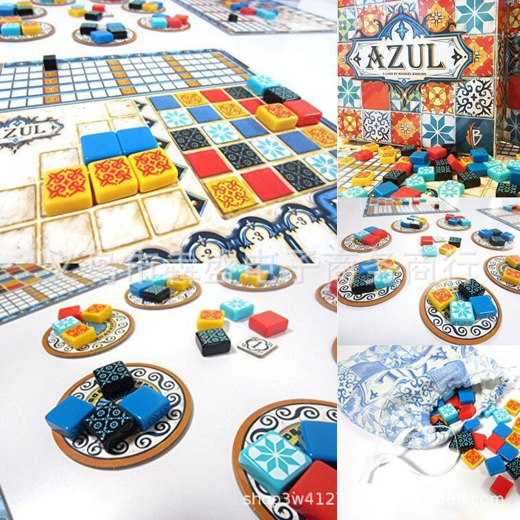 Hot Selling Board Game Azul Tile Desktop Card Props Game English Card Color Brick Master Story