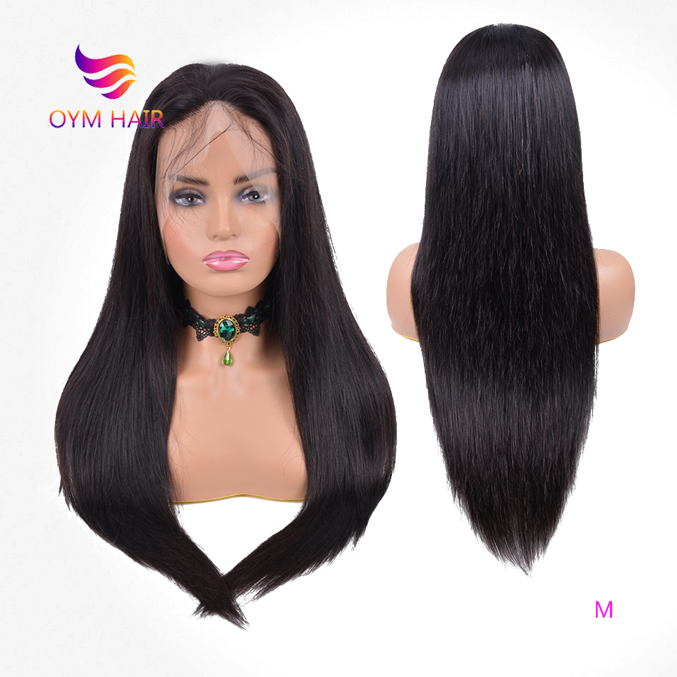 OYM HAIR Straight Remy Full Lace Human Hair Wigs For Women 150% Density Pre Plucked Brazilian Full Lace Wig With Baby Hair