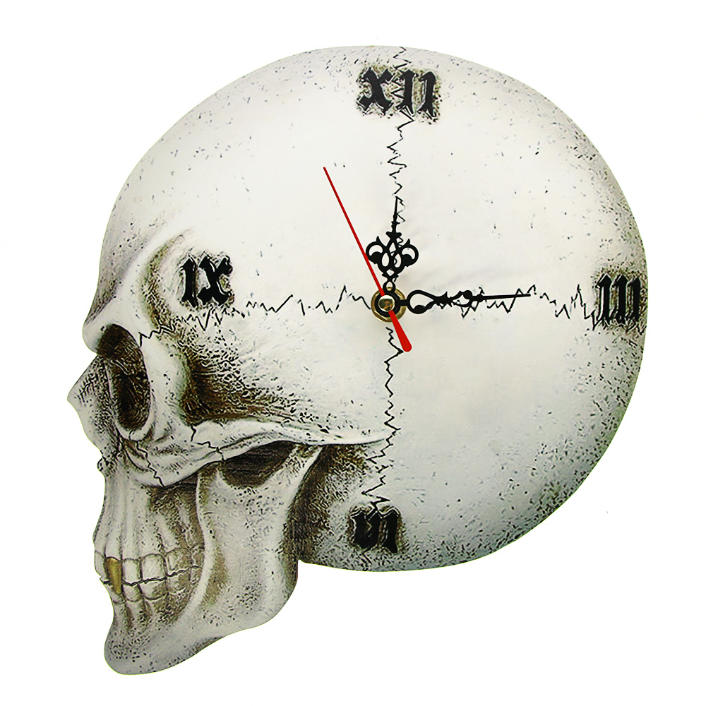 Gothic Skull Head 3D Effect Print Acrylic Wall Clock Tempore Mortis Vault Skull Halloween Home Decor Creepy Skeleton Clock Watch