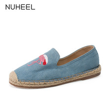 NUHEEL women's shoes spring new animal embroidery retro style pumps low heel blue casual shoes women туфли женские