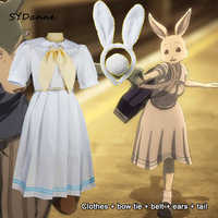 Disfraz de beastar Haru para chica, disfraz de Anime, conejo blanco, vestido bonito de Animal, Senpai, trajes de Cosplay, orejas + cola