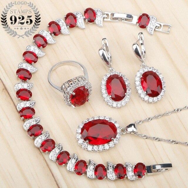 Costume Silver 925 Bridal Jewelry Sets Women Red Stones White Zircon Earrings/Rings/Pendant/Necklace/Bracelets Jewelery Gift Box
