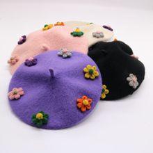 Beret Winter Cap Children's-Hat Girls Parent-Child Kids Lovely Formal Flower Unibeauty