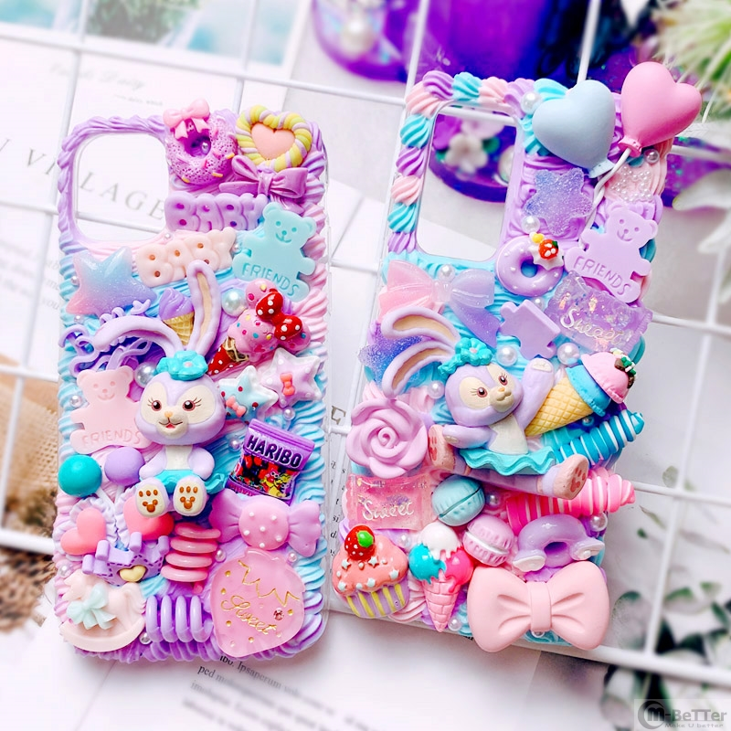 DIY case For Samsung s20 ultra 3D Rabbit phone cover note 5/8/9/10 plus cute Stella cream shell Galaxy s7 edge handmade s8/9/10+ image