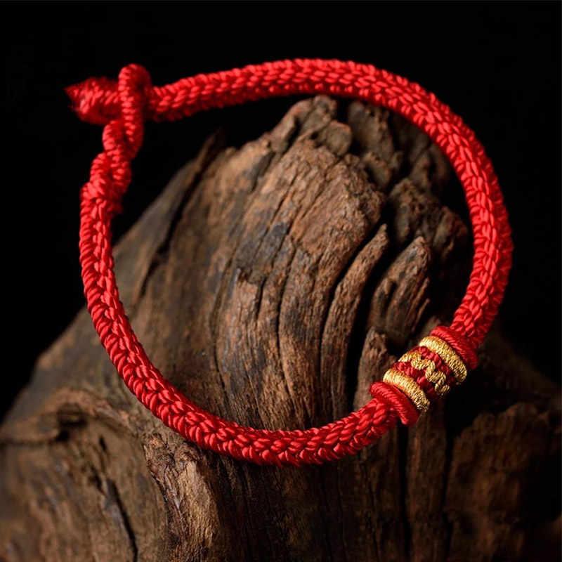 אתני טיבטי אדום חוט צמידי נשים גברים מזל תכשיטים בעבודת יד חבל צמיד קמע בודהה צמיד חברים מתנה