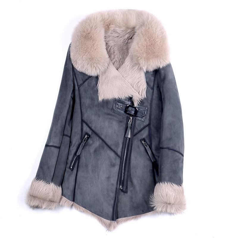 100% genuine sheepskin leather with fur coat with fox fur collar slim styles fashion women autumn skin and lamb sheep fur jacket
