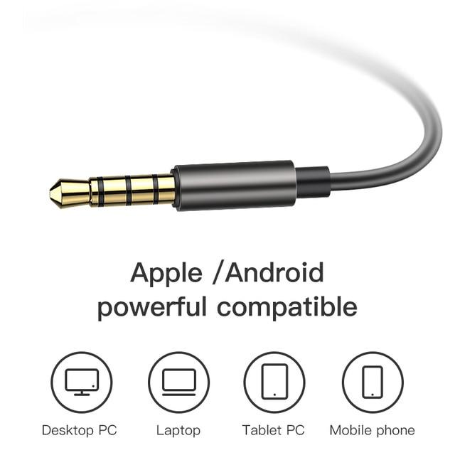 KUULAA Earphones with Microphone Wired Earbuds in Ear Deep Bass 3.5mm Jack for iPhone 6 5 Xiaomi Samsung Huawei Fone De ouvido 3