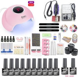 Image 4 - Net Set 10pcs Nail Gel Polish Kit UV LED Nail Lamp 20000rpm Nail Art Manicure Tools For Manicure Nail Art Sets Nail Polish Gel