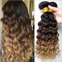 3 4 Bundles Ombre Deep Wave Bundles 1b/4/27 Brazilian Hair Weave Bundles Ombre Hair Bundles Remy Human Hair Extensions