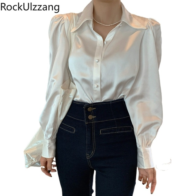 Long Sleeve Button Satin Silky Vintage Cream White Shirt Women Solid Blouse Fashion Blusas Fall Clothing Korean Sexy Office Lady 1