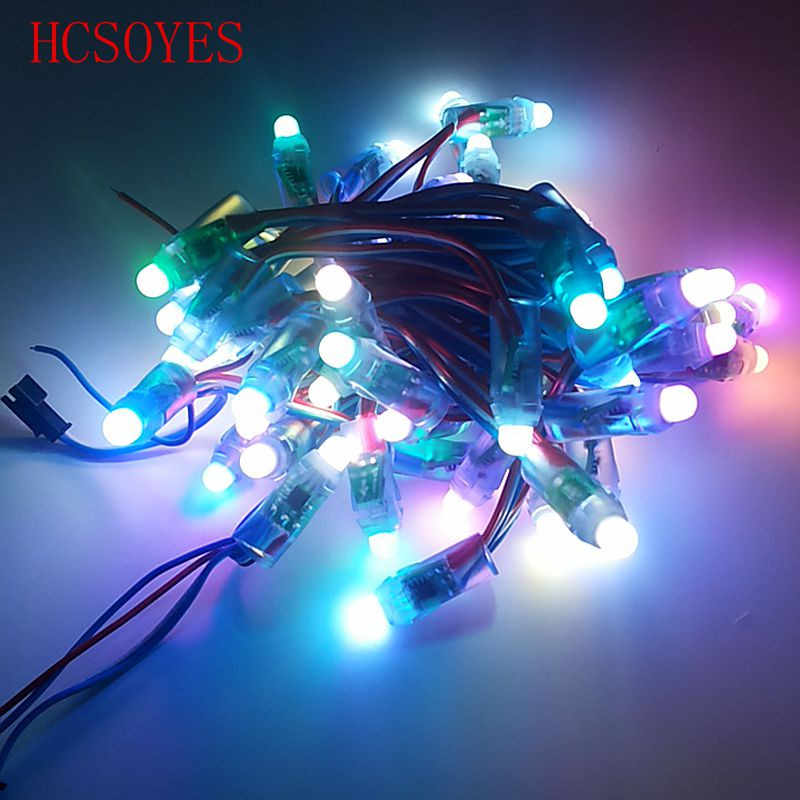 50 unids/lote addeessable 12mm WS2811 Color Pixel LED módulo de luz DC 5V de color RGB 2811 IC Digital LED de Navidad cadena