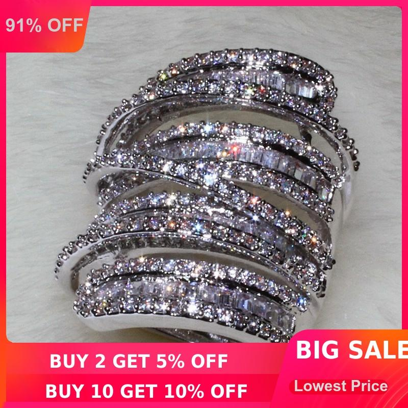 Choucong, женское, мужское модное кольцо, широкое ювелирное изделие, 20ct, AAAAA, циркон, cz, 925 пробы, серебро, обручальное кольцо