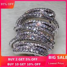 choucong Women Men Fashion ring Wide Jewelry 20ct AAAAA zircon cz 925 Sterling Silver Engagement Wedding Band Ring(China)