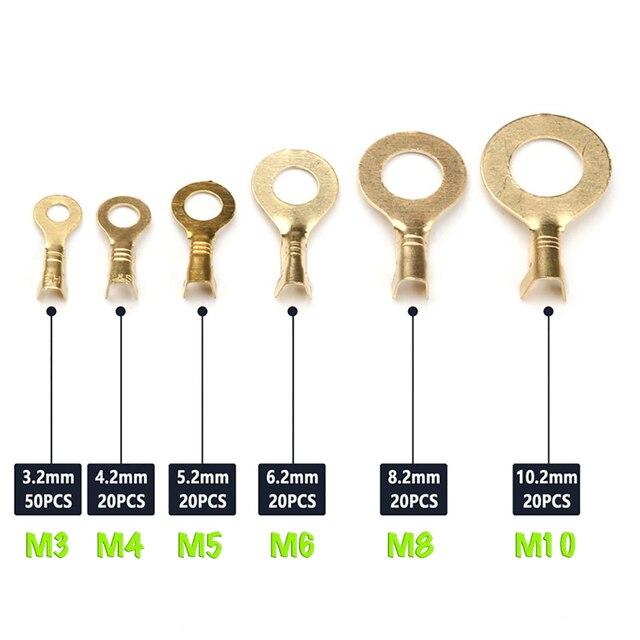 Zaciskane, nie izolowane zaciski pierścieniowe do przewodów, końcówek pierścieniowych, zacisków typu O, M3, M4, m5, M6, M8, M10 (zestaw)