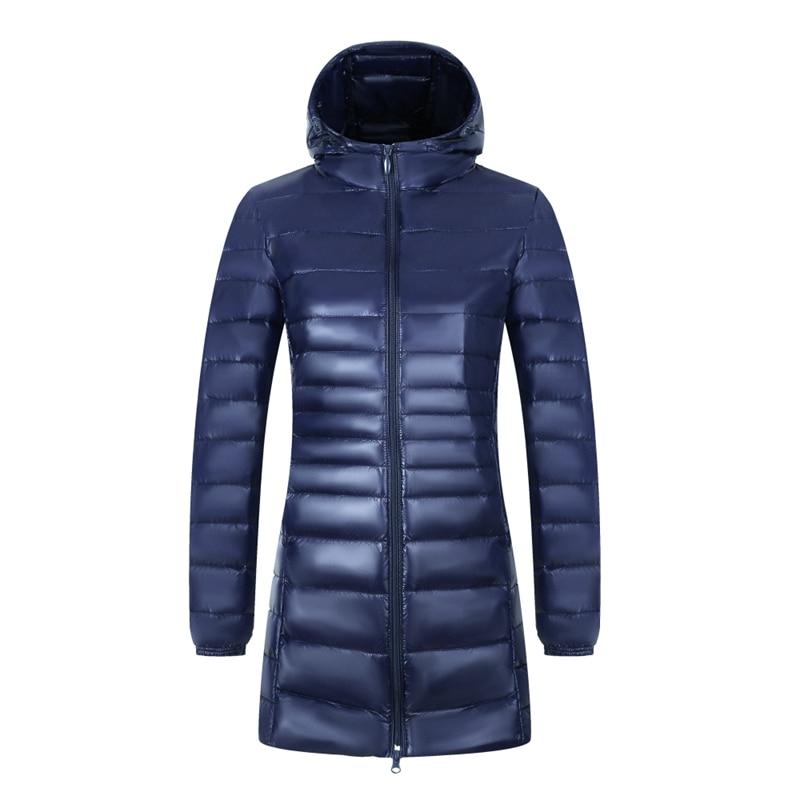 Women Winter Hooded Down Jacket UltraLight White Duck Jackets Casual Thin Coat Lady Warm Long Down Parkas Female Plus Size S-7XL