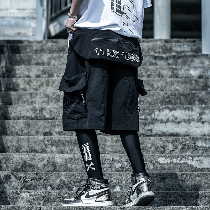 UNSETTLE Men Hip Hop Joggers Streetwear Shorts Summer Pockets Harajuku Cargo Shorts Tatical Military Sweatpants Removable Bag