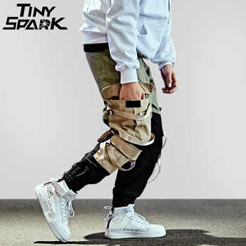 Hip Hop Cargo Pant Streetwear Men Baggy Harem Pant Patchwork Multi Pocket Trousers Casual Tatical Pant Swag Ribbon Harajuku 2018 - DISCOUNT ITEM  45 OFF Men\'s Clothing