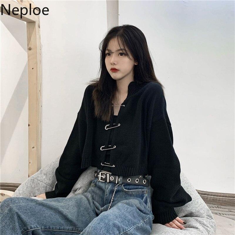 Neploe Female Sweaters Pin Open Stitch Solid Vintage Style Cardigan Black Women's Clothing Moda Feminina Ladies Tops 81185