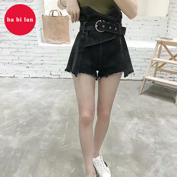 2020 Denim Shorts Women black Shorts blue Shorts Wide Leg Elastic Waist Vintage High Waist Shorts Women Summer Shorts фото