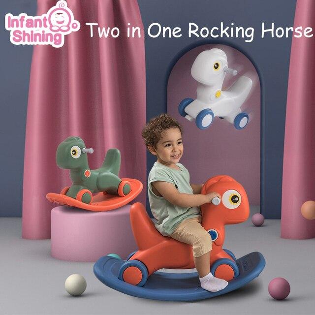 Infantil brilhando crianças animais 2in1 cavalo de balanço brinquedo do bebê cavalo 1 6 anos equilíbrio multi funcional crianças brinquedos internos presente