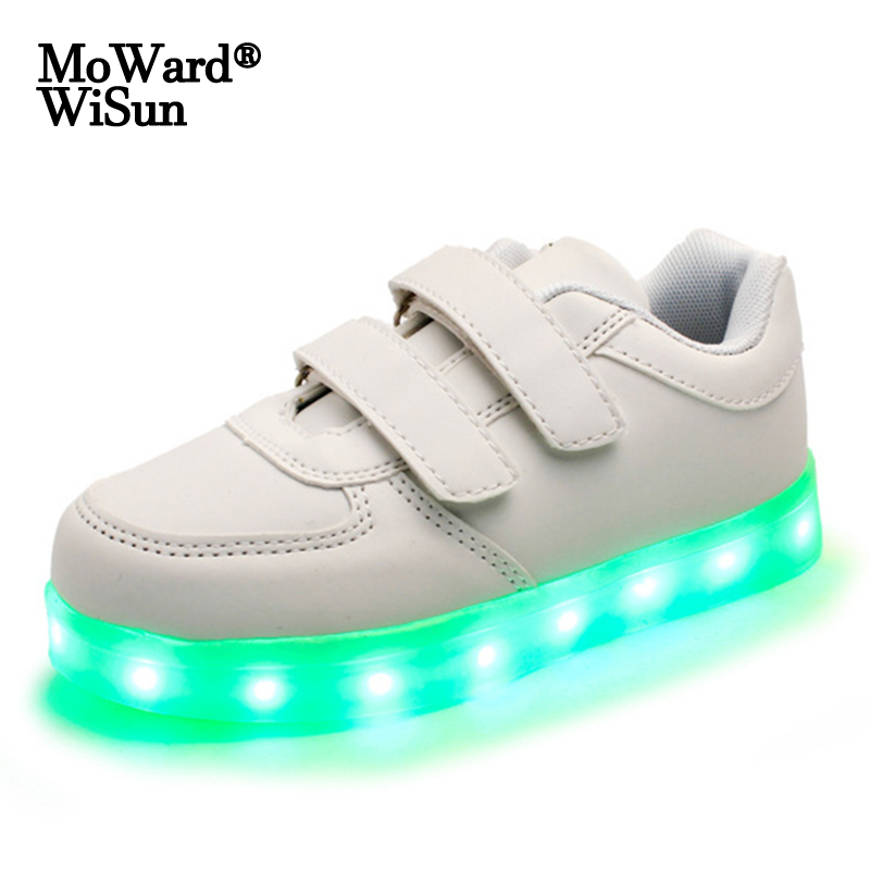 Size 25-35 LED Shoes for Kids Girls Boys USB Charge Glowing Lighted Shoes Kids Shoes with Lights Luminous Sneakers for Children