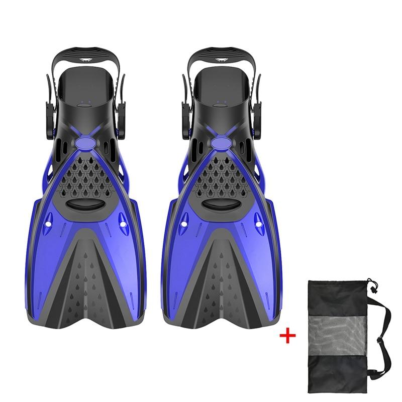 Дети взрослые профессиональные ласты для плавания Подводное плавание дайвинг Обучение Купальники гибкие ласты обувь ножная одежда - Color: Blue