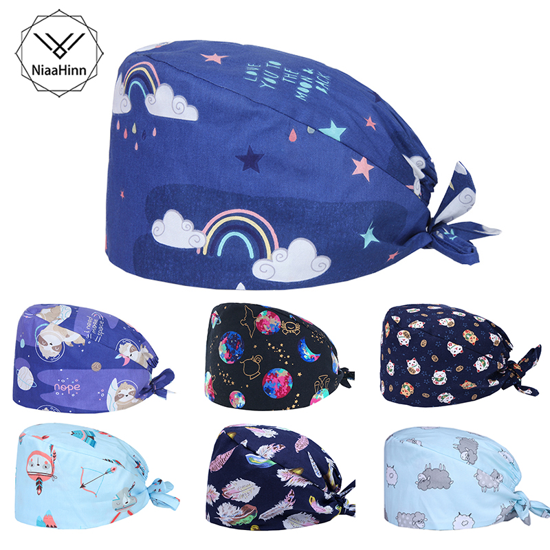 Blue Cartoon Printing Medical Surgical Scrub Caps Breathable Cotton Adjustable Pharmacy Dentist Pet Doctor Men And Women Hats