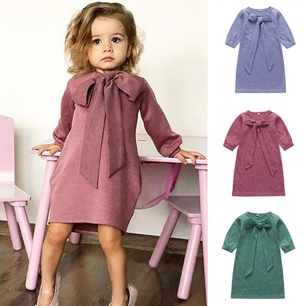 Arco roupas da menina do bebê vestido o pescoço manga longa lazer crianças vestido da menina de algodão vestido infantil para o outono