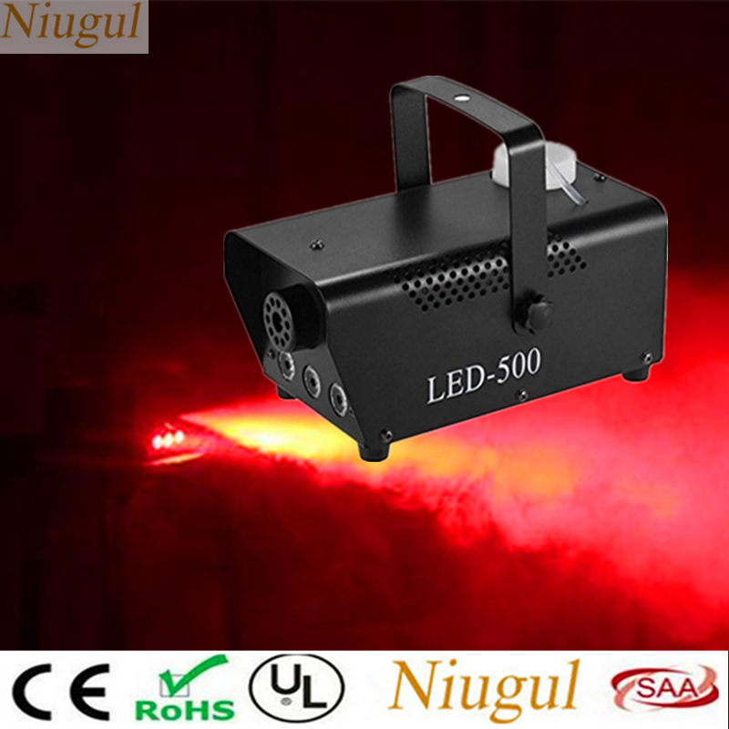 Wireless Control LED 500W Fog Smoke Machine Remote Red Color Smoke Ejector With Red LED Light DJ Party Stage Light Smoke Thrower
